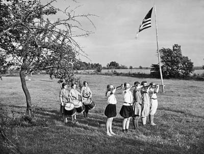 Girl Scout Camp Flag Ceremony Print by Underwood Archives