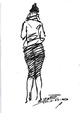 Sketch Drawing - Girl Sketch by Ylli Haruni