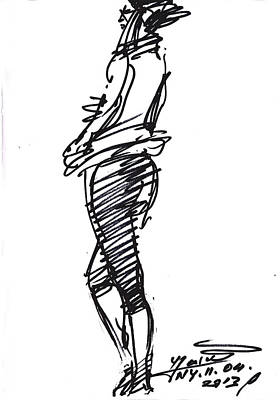 Sketch Drawing - Girl Standing by Ylli Haruni