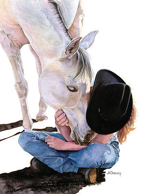 Cowgirls Painting - Girl Talk by JK Dooley