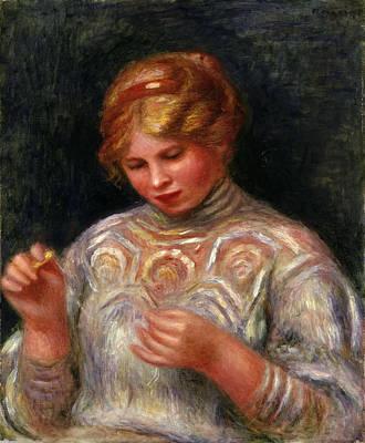 Pierre-auguste Renoir Painting - Girl Tatting by Pierre-Auguste Renoir
