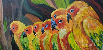 Yellow Beak Painting - Girl Watching by Julie Brugh Riffey