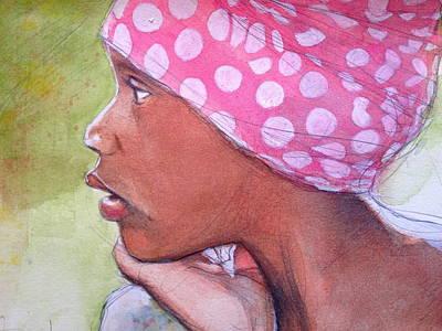 Girl Wearing Polka Dot Bandanna Original by Gregory DeGroat