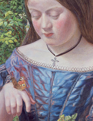 Crucifix Painting - Girl With A Butterfly by William J Webb