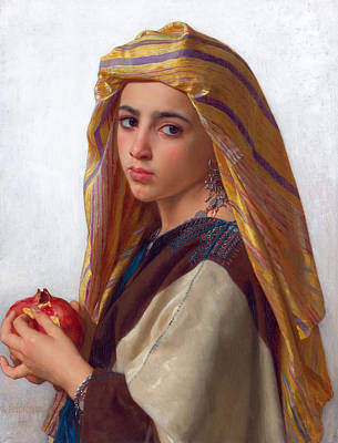 William-adolphe Bouguereau Painting - Girl With A Pomegranate by William-Adolphe Bouguereau