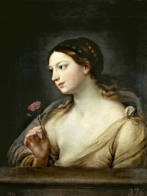 Guido Reni Painting - Girl With A Rose by Guido Reni