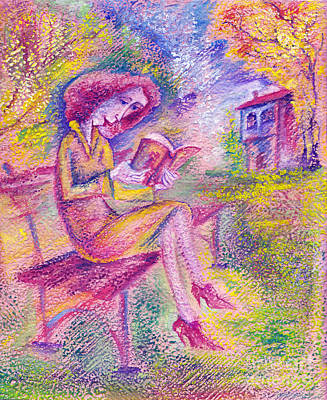Girl Painting - Girl With Book by Milen Litchkov