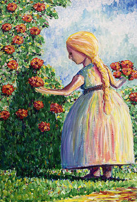 Girl With Flowers Print by Erki Schotter