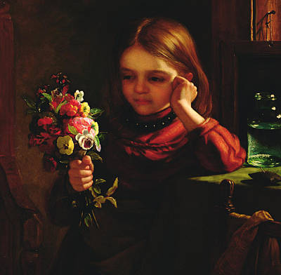 Contemplative Painting - Girl With Flowers by John Davidson