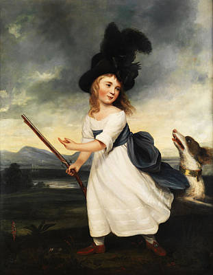 Musket Painting - Girl With Gun And Hound by Mountain Dreams