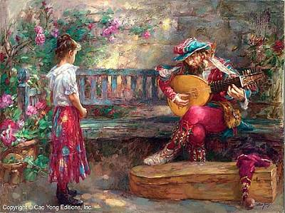 E 20 Painting - Girl With Musician by Cao Yong