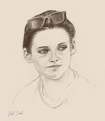 Phil Clark Drawing - Girl With Shades by Phil Clark