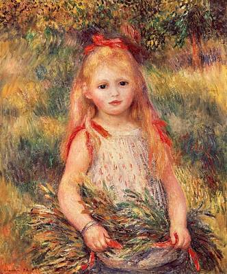 Girl With Sheaf Of Corn Print by Pierre-Auguste Renoir