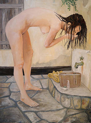 Hair-washing Painting - Girl With The Golden Towel by Alan Lakin