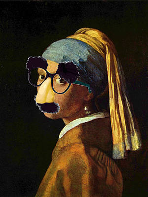 Satire Mixed Media - Girl With The Pearl Earring And Groucho Glasses by Tony Rubino
