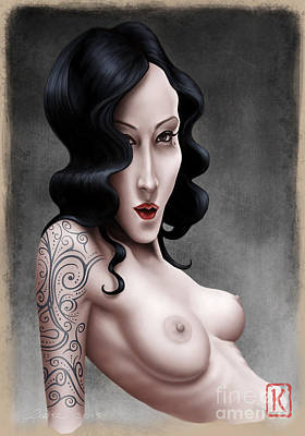 Tattoos Digital Art - Girl With The Tribal Tattoo by Andre Koekemoer