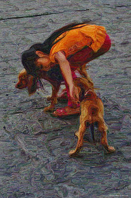 Puppy Digital Art - Girl With Two Dogs by Mary Machare