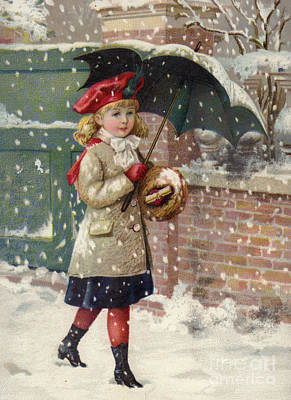 Winter Fun Painting - Girl With Umbrella In A Snow Shower by American School