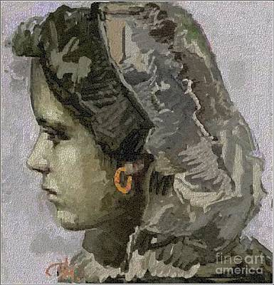 Pemaro Painting - Girl With Yellow Earring Gwye1 by Pemaro