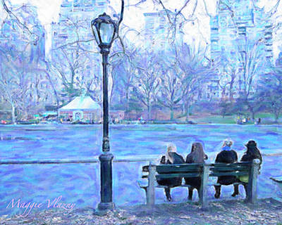 Lamp Post Mixed Media - Girls At Pond In Central Park by Maggie Vlazny