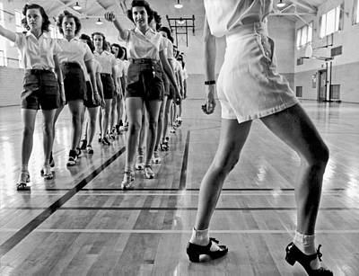 1942 Photograph - Girls In A Tap Dancing Class by Underwood Archives
