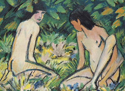 Contemplating Painting - Girls In The Open Air by Otto Mueller or Muller