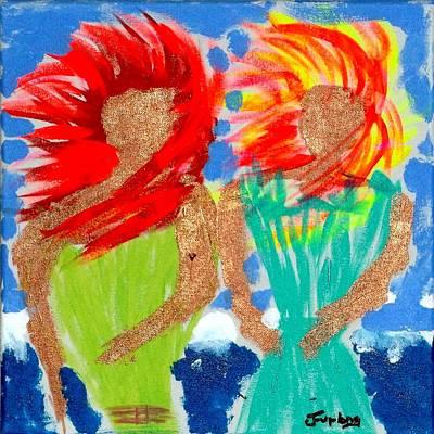 Girls On A Windy Beach  Print by Jim  Furlong