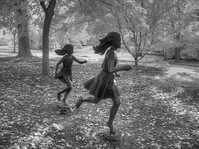 Satue Photograph - Girls Running by Jane Linders