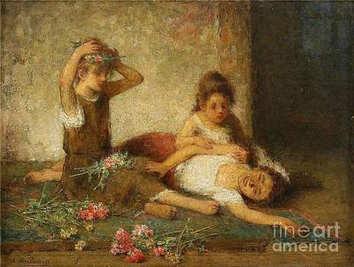 Impressionist Painting - Girls With Flowers by Celestial Images