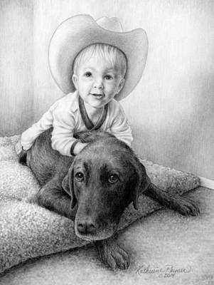 Dogs Drawing - Git Along Big Doggie by Katherine Plumer