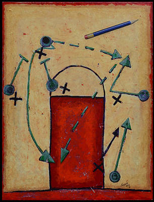 Basketball Abstract Mixed Media - Give And Go by John Sheppard