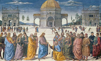 Sistine Painting - Giving Of The Keys To St Peter, From The Sistine Chapel, 1481 by Pietro Perugino