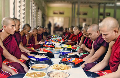 Giving Thanks To Buddha For Meal Print by Claude LeTien