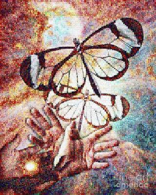 Watson Painting - Giving Transforms The Giver by Robert Silvers Photomosaic from Anne Watson Composition