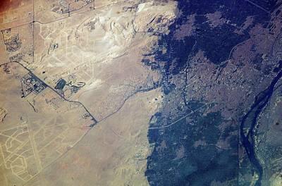 The Plateau Photograph - Giza Plateau And Cairo by Nasa