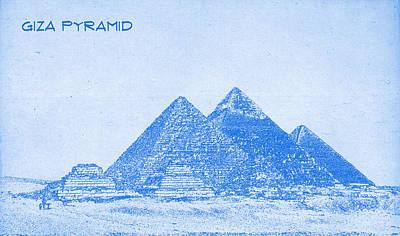 Pyramid Mixed Media - Giza Pyramid  - Blueprint Drawing by MotionAge Designs