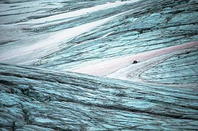 Glacial Crevasses And Pink Algae Blooms Print by Peter J. Raymond