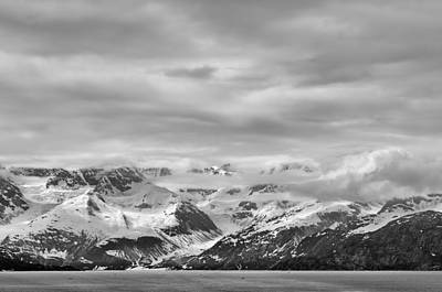 Glacier Bay - Alaska - Landscape - Black And White  Print by Shara Lee