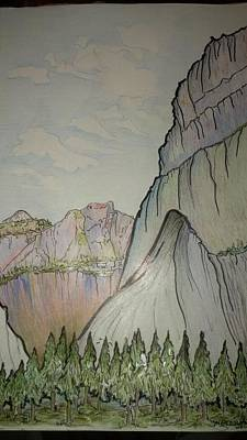 Yosemite National Park Drawing - Glacier Point by Merrily McCarthy