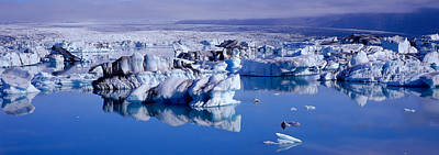 Reflections In River Photograph - Glaciers Floating On Water, Jokulsa by Panoramic Images