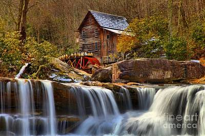 Grist Mill Photograph - Glade Creek Cascades by Adam Jewell
