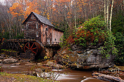 Glade Creek Grist Mill Print by Larry Ricker