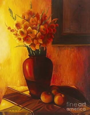 Gladiolas Painting - Gladioli Red by Marlene Book
