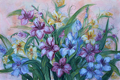 Gladiolas Painting - Gladiolus by Natalie Holland