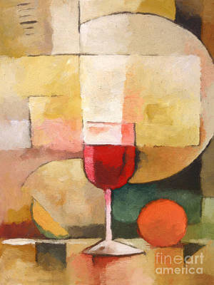 Glass Of Wine Painting - Glas Of Red by Lutz Baar