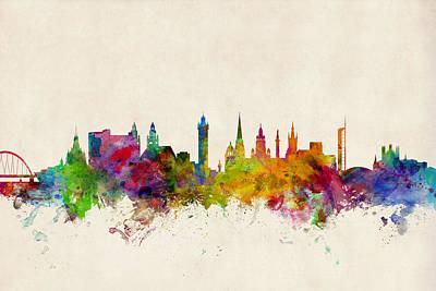 Great Digital Art - Glasgow Scotland Skyline by Michael Tompsett