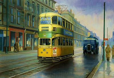 Townscape Painting - Glasgow Tram. by Mike  Jeffries