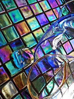 Iridescent Glass Photograph - Glass Abstract 696 by Sarah Loft
