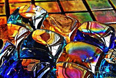 Iridescent Glass Photograph - Glass Abstract by Sarah Loft