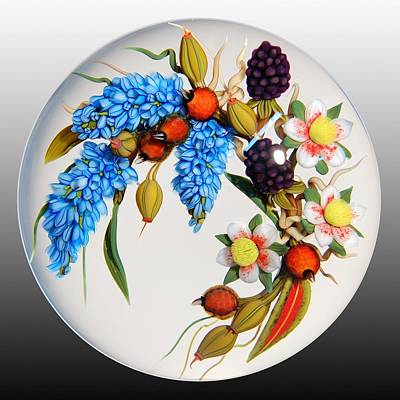 Lampwork Glass Art - Glass Berries And Blooms by Chris Buzzini